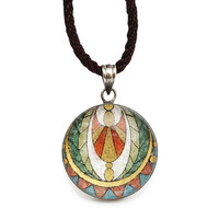 Egyptian Gemstone Mosaic Art 92.5 Sterling Silver Necklace Pendant Jewelry