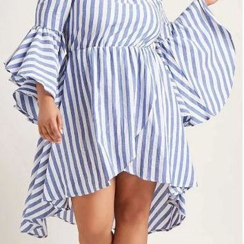 White Striped Backless Off Shoulder High-Low Plus Size Bell Sleeve Maxi Dress