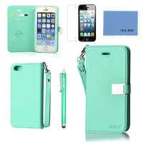 iPhone 5 case,iPhone 5S case,by Ailun,Wallet case,PU leather case,credit card holder,Flip Cover Skin[Mint Green] with screen protect and styli pen
