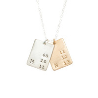 Initial and Date Rectangles ~ Necklace