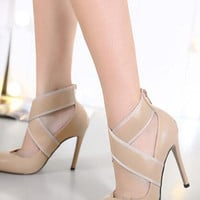 Apricot Cross Strap Detail Pointed High Heels