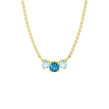 Round London Blue Topaz 14K Yellow Gold Pendant with Aquamarine