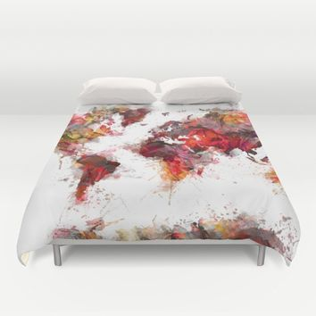World Map red flowers Duvet Cover by Jbjart