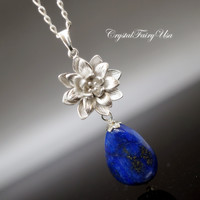 Lapis Lazuli Necklace in Sterling Silver  , Lapis Lazuli Necklace, Lapis Lazuli Jewelry , Silver Lotus Flower Necklace Gift For Mom