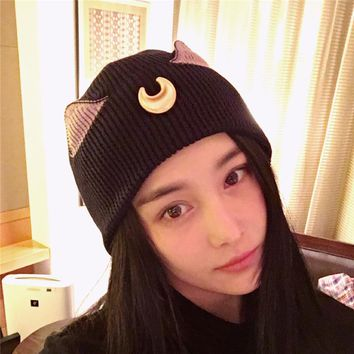 2017 women's knitted beanies cute hats with crescent ear Soldier sailor moon print caps hats for ladies girls Skuilles Beanies
