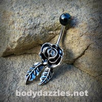 Antique Rose With Black Top Belly Button Ring Body Jewelry 14ga Surgical Stainless Steel Navel Ring