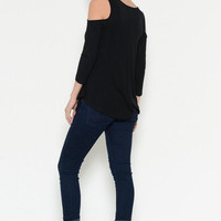 Loose Cold Shoulder Top - Black