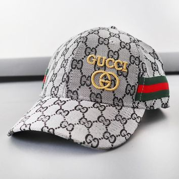 GUCCI New fashion more letter print embroidery letter stripe hat cap Gray
