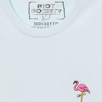 VONE05W Riot Society Flamingo Embroidered T-Shirt