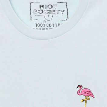 DCCKJH6 Riot Society Flamingo Embroidered T-Shirt
