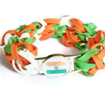 Indian Flag Stretch Bracelet - Made w/ Rubber Bands - India Country, Gujarati, Hindi, Urdu, Punjabi