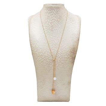 """Night and Day"" Natural Sunstone and Moonstone 9K Gold Necklace"
