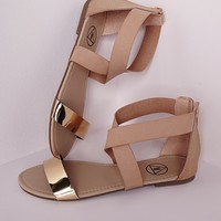 Missguided - Gold Detail Crossover Flat Sandals Nude