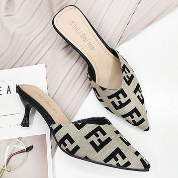 Fendi Fashion New More Letter Print Personality High Heels Shoes Women 4#