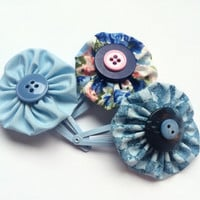 Blue Hair Clip Set - Yo Yo Flower Snap Clip Barrettes for Girls - Hair Clips for Toddlers - Blue Fabric Flower Barrettes -Button Clippies