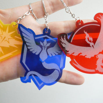 Pokemon Go Keychain, Custom Keychain, Pokemon Go Key Chain, Pokemon Keychain, Team Mystic, Team Valor, Team Instinct, Laser Cut Keychains
