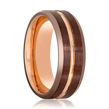 Aydins Rose Gold & Brown Grooved Tungsten Wedding Band for Men 8mm Beveled Edge Tungsten Carbide Wedding Ring