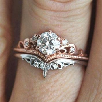 Hot seller of new creative crown color separation set ring diamond - plated rose gold engagement ring