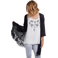 Black Longline Knitted Jacket With Fringing - Q2 Store