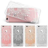 Girl Women Sexy Lace Floral Pattern Case For Apple iPhone 6 Plus 5.5 Transparent TPU Cover For iPhone 6S Plus Soft Silicone Case
