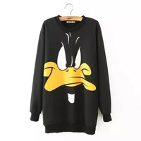 Black Cartoon Print Knit Pullover Sweater