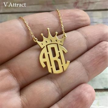 Custom Jewelry Personalized Crown Name Monogram Necklace Women Men Jewelry Silver Rose Gold Ketting Erkek Kolye Best Friend Gift