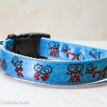 Dr. Seuss dog collars : Thing 1 and Thing 2 (Cat in the Hat) - Regular width buckle OR martingale dog collar