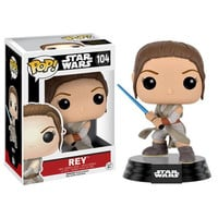 Rey With Lightsaber Star Wars Force Awakens Pop Vinyl Figure