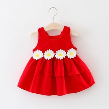 Newborn Kids Fashion Dress Summer infantil Sleeveless Cotton Cute Flower Princess Vest 1 Year Birthday Dresses Baby Girl Clothes