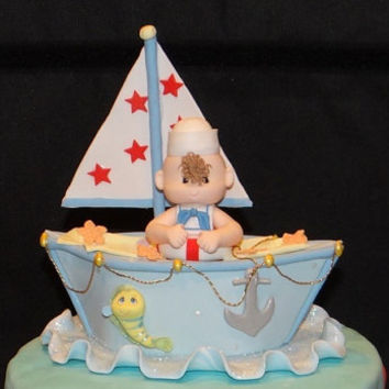Sailor Cake Topper, Nautical Cake Topper, Nautical Birthday Cake Topper, Sailor Decoration, Nautical Cake Topper, Baby Shower Cake Topper