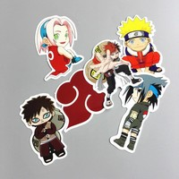 TD ZW 6 Pcs/Lot Waterproof Japan Anime Naruto Stickers For Laptop Car Trunk Skateboard Guitar Fridge Backpack Decal Toy Stickers