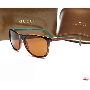 GUCCI Popular Women Men Chic Red Green Stripe Frame Sunglasses Sun Shades Eyeglasses Glasses 4# I-ZXJ