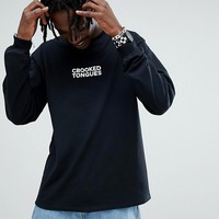 Crooked Tongues Long Sleeve T-Shirt With Logo Print In Black at asos.com