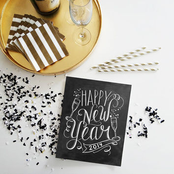 New Year's Download - 2014 New Year's Eve Party Sign - New Years Party Decor - Happy New Year Digital Printable 8x10 - Chalkboard Art