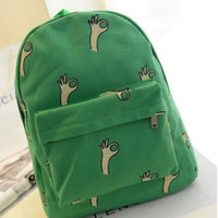 Cute Girl Perfect B Hands Pattern Printing Women's Backpack Traveling Outdoor Practical School Bag Unique Fashion Canvas Green Backpack