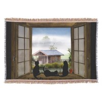 Throw Blanket Country Scene with Three Black Cats