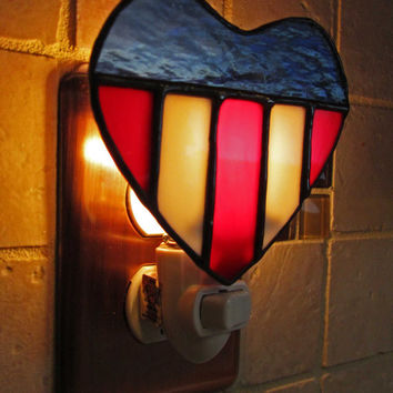 Stained Glass Night Light ~ Patriotic Night Light ~ Red, White, Blue Stained Glass ~ Military Gift