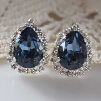 Blue Stud Earrings, Denim Blue, Swarovski Crystal, Blue Pear Post Earring, Crystal Halo, Bridesmaid Jewellery, Wedding Gift