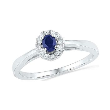 10kt White Gold Women's Oval Lab-Created Blue Sapphire Solitaire Diamond Ring 1/3 Cttw - FREE Shipping (US/CAN)
