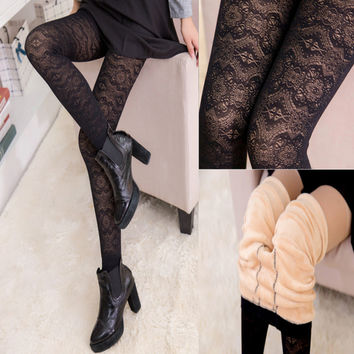 New Lace Leggings For Women Winter Velvet Warm Leggings Black Plus Cashmere Thick Warm Autumn Slim Legging Elastic High Quality