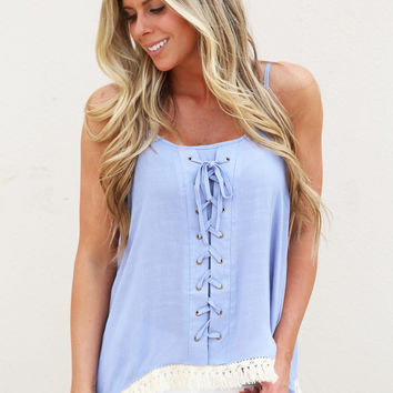 Mystic Blue Lace-up Tank