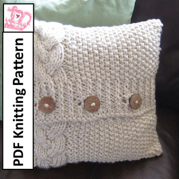 Braided Cable super chunky 16 x 16 pillow cover - PDF KNITTING PATTERN