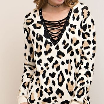 Alley Cat Taupe Ivory Black Animal Cheetah Long Sleeve Lace Up V Neck Pullover Tunic Sweater (Pre-Order)