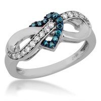LadiesTreated Blue and White Diamond Infinity Ring in Sterling Silver
