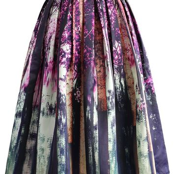 Enchanted Purple Forest Midi Skirt