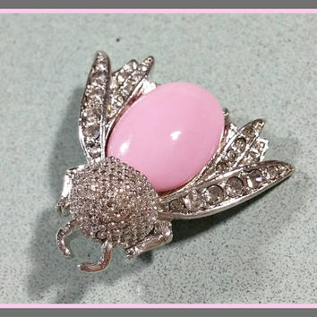 Rhinestone Bee Pin Brooch Pink Glass Body Silvertone with Clear Rhinestones Sparkling Bumble Bee Flying Bub Insect Pin Brooch