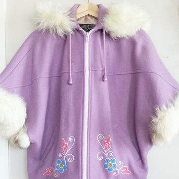 Vintage Fur Wool Coat~ Boho Hipster Cropped Eskimo Jacket~  FLORAL Embroidery Jacket~ Arctic Inuvik Inuit Fox Fur Hooded Wool Parka Jacket~