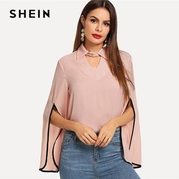 SHEIN Hot Pink Keyhole Front Split Bell Sleeve Top Elegant Workwear V Neck Cut Out Blouse Women Autumn Button Long Sleeve Blouse