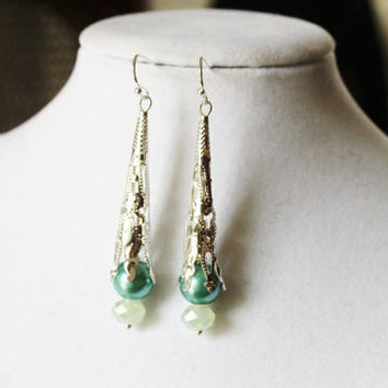 Turquoise, Light Green and Silver Long Earrings - Turquoise Glass Pearls, Very Light Green Crystals and Silver Toned Filigree Cones