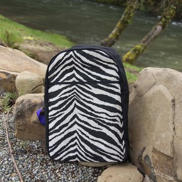 Burlap Zebra Backpack
